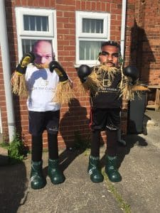 David Hay and Tyson Strawy scarecrows