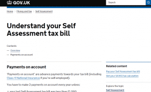 Self Assessment Payments on Account