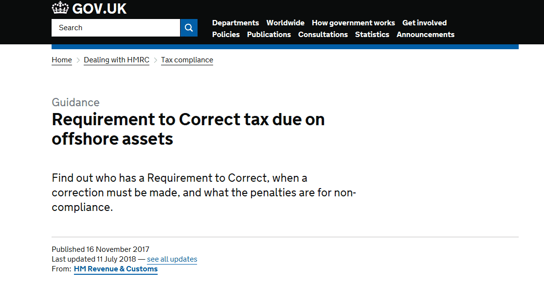 HMRC Requirement to Correct